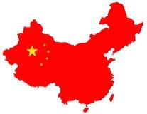 Carte rouge d'isolement de la Chine Image libre de droits