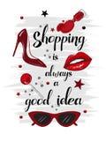 Carte rouge de achat de mode Photographie stock libre de droits