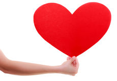 Carte rouge de coeur. Symbole d'amour. Symbole de Saint Valentin de prise de femme. Image libre de droits