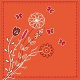 Carte rouge de fleurs Photographie stock