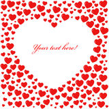 Carte rouge de forme de coeur Photo stock
