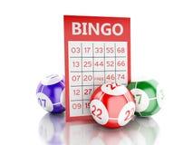 carte rouge du bingo-test 3d avec des boules de bingo-test illustration stock