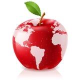 Carte rouge du monde d'Apple Photographie stock