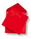 Carte rouge et enveloppe avec Photographie stock