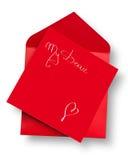 Carte rouge et enveloppe avec Images libres de droits