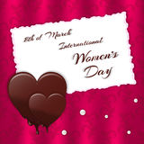 Carte rouge et ornement de fête élégants de soie Coeur de fonte de chocolat et papier en lambeaux de feuille avec des perles pour illustration stock