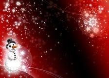 Carte rouge foncé de Noël de bonhomme de neige Photos libres de droits