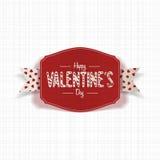 Carte rouge réaliste de jour de valentines avec le ruban Photographie stock
