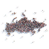 Carte Russie de forme de groupe de personnes Photographie stock libre de droits