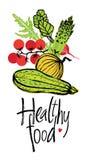 Carte saine de conception de nourriture avec les légumes frais Photographie stock libre de droits