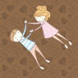 Carte sans couture de vecteur avec les couples 05 Images stock