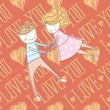 Carte sans couture de vecteur avec les couples 01 [convertis] Images libres de droits