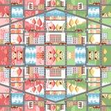 Carte sans couture de ville de bande dessinée mignonne Paysage urbain de ressort et d'été Image stock