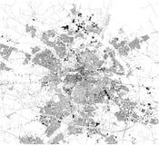 Carte satellite de municipalité d'Odense denmark Carte des rues et b?timents du centre de ville illustration libre de droits