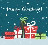 Carte scandinave simple de boîte-cadeau de Noël salutation de l'an neuf illustration libre de droits