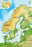 carte Scandinavie-physique Photo libre de droits