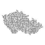 Carte schématique abstraite de la République Tchèque du noir imprimée Image stock