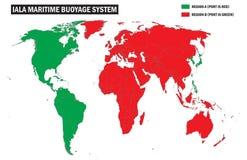 Carte schématique du système de buoyage des régions IALA du monde photos libres de droits