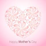 Carte sensible pour le jour de mère avec les fleurs de papier Images stock