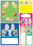 Carte Set_eps d'animaux de dessin animé Photographie stock