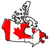 Carte simplifiée de contour du Canada, avec le drapeau légèrement coudé dessous illustration libre de droits