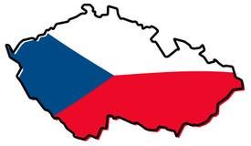 Carte simplifiée de contour de République Tchèque de Czechia, avec le slightl illustration stock