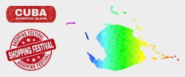 Carte spectrale d'île de Juventud de mosaïque et filigrane de achat grunge de festival illustration de vecteur