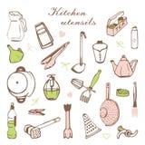 Carte stylisée avec des étagères de cuisine et des batteries de cuisine illustration de vecteur