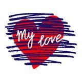 Carte stylisée avec le coeur rouge, les courses bleu-foncé de brosse et la main-d illustration libre de droits