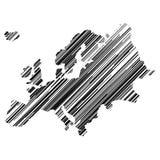 Carte stylisée de l'Europe avec des hatchings noirs illustration stock