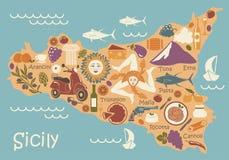 Carte stylisée de la Sicile avec des symboles traditionnels illustration de vecteur
