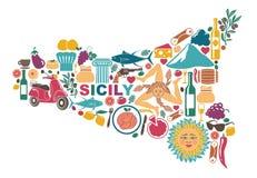 Carte stylisée de la Sicile avec des symboles traditionnels illustration stock