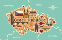 Carte stylisée de République Tchèque Images stock