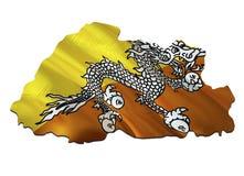 Carte sur le drapeau de ondulation du Bhutan 3D rendant la carte du Bhutan et ondulant le drapeau sur la carte de l'Asie Le symbo illustration de vecteur