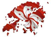 Carte sur le drapeau de ondulation de Hong Kong 3D rendant la carte de Hong Kong et ondulant le drapeau sur la carte de l'Asie Le images stock