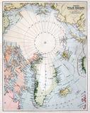 Carte tôt de la région de Pôle Nord Photo stock