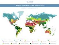 Carte terrestre du monde d'écosystème Biome Conception infographic de zone climatique du monde illustration stock