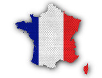 Carte texturisée des Frances dans des couleurs gentilles Photos stock