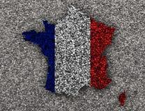 Carte texturisée des Frances dans des couleurs gentilles Photographie stock