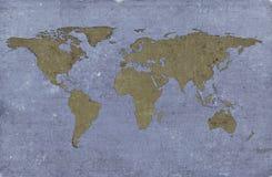 Carte texturisée sale du monde Images libres de droits
