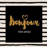 Carte tirée par la main élégante de typographie, plaquette, affiche, copie de T-shirt Paris, style de Frances Photographie stock libre de droits