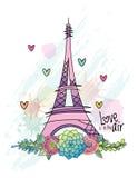 Carte tirée par la main d'amour de fleur, Tour Eiffel, vecteur Image libre de droits