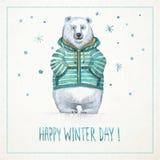 Carte tirée par la main d'aquarelle avec l'ours blanc drôle Photographie stock