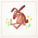 Carte tirée par la main d'aquarelle avec le lapin drôle Photos libres de droits