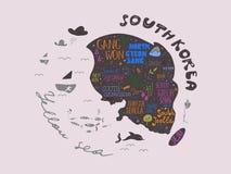 Carte tirée par la main d'illustration de vecteur de la Corée du Sud, conception Images libres de droits