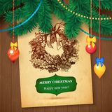 Carte tirée par la main de croquis de Vecrtor de Noël pour la conception de Noël avec des boules illustration de vecteur