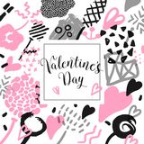 Carte tirée par la main de jour de valentines avec les éléments romantiques Amour Memphis Background de hippie Conception du vint illustration stock