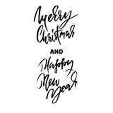 Carte tirée par la main de Joyeux Noël Carte de typographie de bonne année Images stock