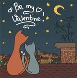 Carte tirée par la main de vecteur, concept de jour de valentines Images libres de droits