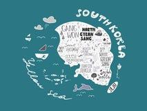 Carte tirée par la main de vecteur de la Corée avec des noms d'illustration de secteurs, conception Image stock